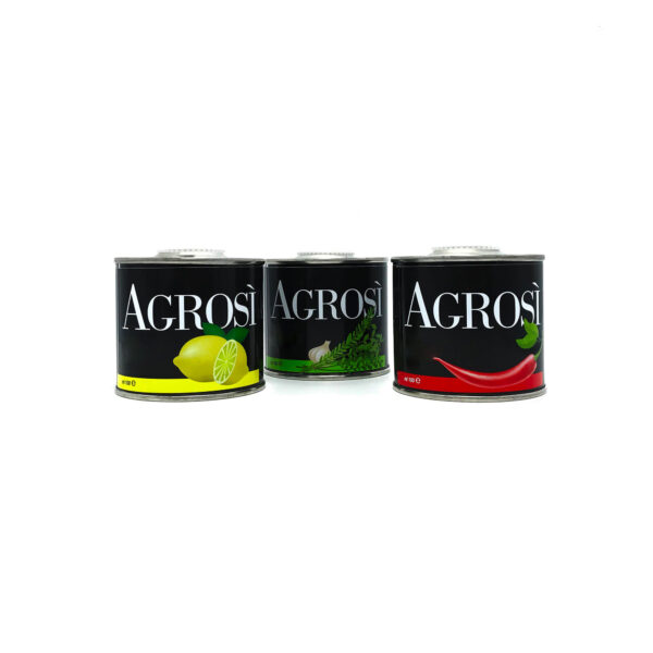 tris di lattine 100ml olio aromatizzato bio azienda agricola agrosi